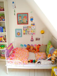 Beautiful Colourful childrens room. Love the patchwork