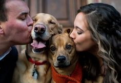 I love it when couples include dogs in their engagement photos!