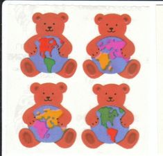 Teddies Vintage Sandylion Earth Bear Pearly Stickers - Pearl Opal MOP Iridescent Globe Teddy Be Vintage Teddy Bears, Cute Friends, Wall Collage, Collage Ideas, Stationery Design, Cute Stickers, Retro, Little Pony, Childhood Memories