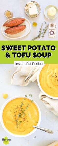 Now that it's soup season, whip up this easy instant pot sweet potato soup with silken tofu to warm up and feel super satisfied. This soup is a great meal in the fall and winter when it's cold outside. Instead of feeling like you have to make a protein on the side, add the protein directly into the soup. The tofu also adds extra creaminess and makes this soup silky and delicious. Tofu Soup, Cooking Sweet Potatoes, Sweet Potato Soup, Intuitive Eating, Good Healthy Recipes, Fall Recipes, Crockpot Recipes, Instant Pot, Clean Eating