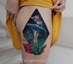 Ballerina Svetlana Zakharova done on girl's hip by Roza, an artist based in Athens, Greece.