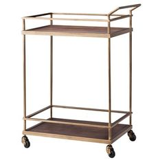 Wood & Brass Finish Bar Cart - Threshold™ : Target. love how this one is brass and not gold.