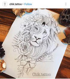 Tattoo Thigh Lion Flower New Ideas Tattoos Motive, Leo Tattoos, Future Tattoos, Body Art Tattoos, Sleeve Tattoos, Tatoos, Petit Tattoo, Geometric Tatto, Tattoo Zeichnungen