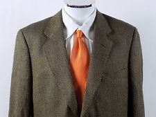 Brooks Brothers Wool/Silk Blend 2 Button Black/Tan Herringbone Blazer 41 R