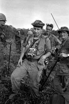 Eddie Adams was a Pulitzer Prize-winning American photographer and photojournalist noted for portraits of celebrities and politicians and his coverage of 13 wars, pictured here in Vietnam. Adams served in the United States Marine Corps during the Korean War as a combat photographer. One of his assignments was to photograph the entire Demilitarized Zone from end to end immediately following the war. This took him over a month to complete.