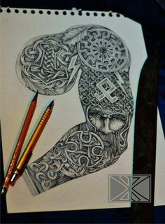 Norse sleeve going from Thor's hammer on the chest to Norse ruins running into the face of Odin Viking Tattoo Sleeve, Armor Tattoo, Norse Tattoo, Celtic Tattoos, Hai Tattoos, Body Art Tattoos, Tribal Tattoos, Tatoos, Viking Symbols