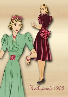 Sewing Pattern 1940s Dress Hollywood 1908 by FloradoraPresents