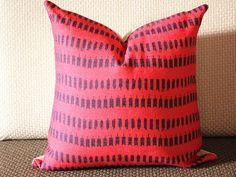 Pink Ikat Pillow - Modern Geometric Pink Blue Pillow Cover - Throw Pillow - Designer Pillow - Fuchsia Ikat Pillow - Ikat - Hand Dyed 274