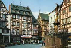 Bernkastel-Kues market place.Postcard purchased in Germany, 1976.