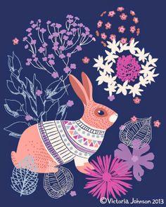 rabbit, floral, design, illustration, victoriajohnsondesign.com