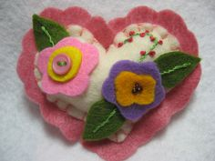 Wool felt pin, Valentine brooch
