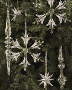 Set of 6 Snowflake Star and Icicle Ornaments | Balsam Hill