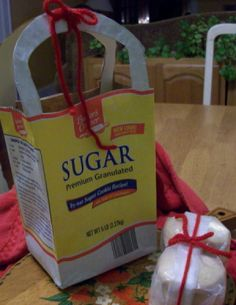 Sugar bag with recipe and add homeade sugar cookies. I like this idea. It's all about recycling!