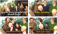 The Hobbit: Adam can't tell the difference between the greatest elf in Middle-earth and a sword. (gif)