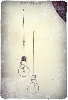 Set of 2 wire lightbulbs