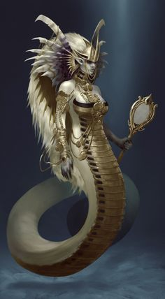 Kiradma, The Sea Serpent Queen by Quinn Simoes Mythological Creatures, Mythical Creatures, Dark Fantasy Art, Fantasy World, Sea Serpent, Fantasy Races, Fantasy Monster, Merfolk, Creature Concept