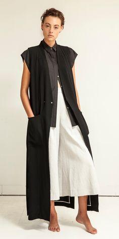Look 13: Astro Extended Cap Shirt in Artisan Black // Sensei Duster Sleeveless Coat in Black // Oki Mega Culotte in White/Linen