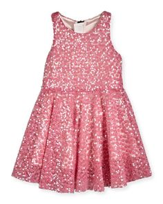 K0N55 Milly Minis Sequined Racerback Circle Dress, Pink, Size 4-7