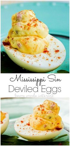 These Mississippi Sin Deviled Eggs turn a classic southern dip into one amazing deviled egg recipe! Creamy egg yolks, ham, and cheese make these deviled eggs an Easter appetizer or summer potluck recipe you don't want to miss! Easter Appetizers, Best Appetizers, Appetizer Recipes, Snack Recipes, Potluck Appetizers, Easy Potluck Recipes, Recipes Dinner, Appetizer Dessert, Protein Recipes