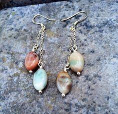 THE AMAZONITE Earrings //  Petite Amazonite Stone by ShopParadigm, $38.00