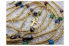 Waistbeads  Egyptian Goddess (Gold Royal) - $42 - featuring chevron, bone beads, and an ankh charm