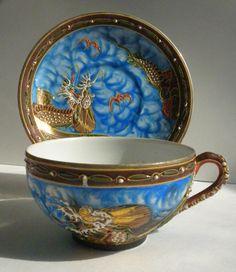 Vintage, Moriage, Dragonware Lithophane, Tea Cup and Saucer, Japanese Dragonware Sugar Bowls And Creamers, Antique Tea Cups, My Cup Of Tea, Tea Cup Saucer, Vintage Tea, Teacups, Drinking Tea, Afternoon Tea, Tea Set