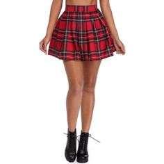 Red Plaid Pleated Mini Skirt (160 HRK) ❤ liked on Polyvore featuring skirts, mini skirts, pleated mini skirt, red plaid mini skirt, short white skirt, red mini skirt and high waisted mini skirt