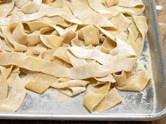 Michael Chiarello invites Food Network Magazine into his California kitchen to roll out fresh pappardelle — without a pasta maker. Yummy Recipes, Pastas Recipes, Snack Recipes, Cooking Recipes, Macaroni Recipes, Cooking Food, Top Recipes, Easy Cooking, Cooking Tips