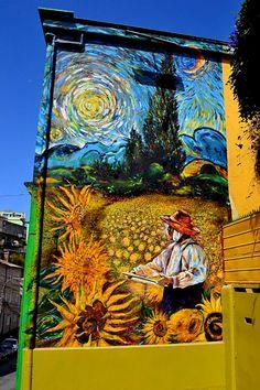 santiago,-chile Chilean street artist Teo Doro mural in Valparaíso.
