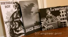 DIY engineer print, great B&W party decorator