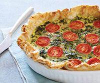Spinach, feta and tomato quiche