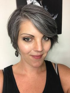 Long white hair on forehead Short White Hair, Short Hair Cuts, Short Hair Styles, Grey Hair Styles For Women, Grey Hair Inspiration, Grey Hair Don't Care, Gray Hair Growing Out, Transition To Gray Hair, Salt And Pepper Hair