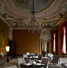 Exterior, Fascinating Hotel Interior Design Featuring Luxurious Mesmerizing Vintage Style With Fresco Decorated Brown Patterned Wall Chandelier Black Table Grey Chair: Aman Canale Grande Hotel with Exclusive Interior Completing Your Vacation in Floating City in Venice