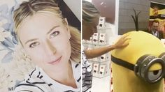 Maria Sharapova meets a minion during Sugarpova chocolate bar launch at the Sweets Expo in Chicago. Maria stunned in a white and black striped t-shirt and a high waisted black skirt.