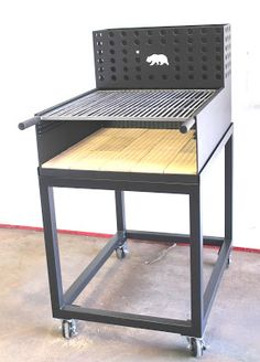 Goldilocks, a small, patio friendly Umbrian Grill, brick lined with a rear brazero or ember maker. Made by NorCal Ovenworks Inc. Bbq Smoker Trailer, Bbq Pit Smoker, Barbecue Grill, Design Grill, Bbq Shed, Four A Pizza, Stove Oven, Rocket Stoves, Outdoor Kitchen Design