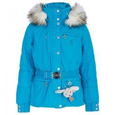 Poivre Blanc Girls Blue Waterproof Long Belted Ski Jacket | AlexandAlexa