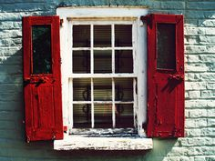 Red shutters hanging on a paned window Old Windows, Windows And Doors, Red Shutters, Rustic Doors, Rustic Shutters, Terracota, Window Dressings, Old Doors, Window Boxes
