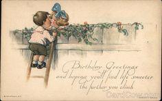 twelvetrees postcards | Children Kissing Over a Fence Charles Twelvetrees Birthday