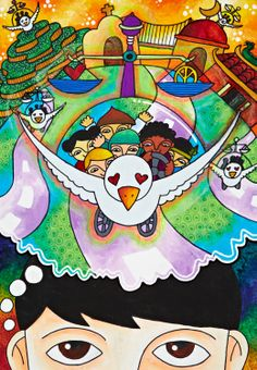 'The Messenger of Peace Car' by Mark Anthony T. Liao, Aged 12, Philippines: 3rd Contest, Bronze #KidsArt #ToyotaDreamCar