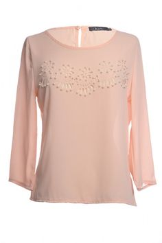 Ali Beige: Price: € 21.00  3/4 Sleeve chiffon Blouse with beed detail on the front.
