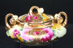 Antique Beautiful  Jar Bowl Hand painted Roses Gold Moriage Accents