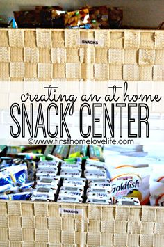 Love this idea of creating a Snack Center in your home! It will save time and money for sure! | First Home Love Life