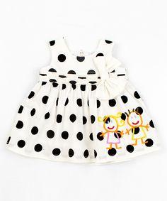 Lourdes: White & Black Polka Dot Dress - Infant, Toddler & Girls
