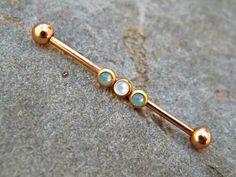 Industrial Barbell Rose Gold Rhinestone Trio 14ga Body Jewelry Ear Jewelry Double Piercing