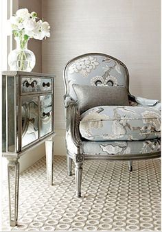 Antique Silver Furniture on French Bleu Fabric Chair Mirror Furniture Gray Silver Home Decorating