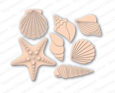 Impression Obsession Rubber Stamps Shell Set