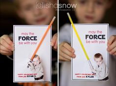 Star Wars Valentines - plus lots of other photo valentine ideas! Photo via Elisha Snow Photography