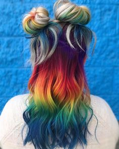 "493 Likes, 50 Comments - Curtis Nielsen II (@curtiscolorshair) on Instagram: ""I absolutely #love creating #rainbowhair ! Lifted with #lightmaster , toned with #colorsync 10p and…"""