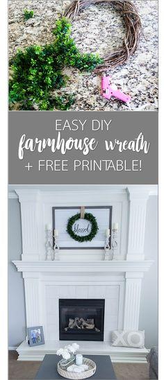 Super easy farmhouse sign & DIY wreath! Free printable - Little Blonde Mom Blog #farmhousedecor #modernfarmhouse #freeprintable #printable #homedecor