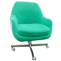 Mid-Century Desk Chair on Casters: A custom upholstered vintage desk chair with a new foam seat wrapped in dacron. It is very comfortable and glides very smoothly Ikea Dining Chair, Upholstered Desk Chair, Farmhouse Dining Chairs, Vintage Desk Chair, Girls Desk Chair, Composite Adirondack Chairs, Adirondack Chairs For Sale, Inflatable Chair, Teal Accent Chair
